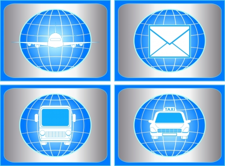 set of symbol with cargo, mail and shipping sign Vector