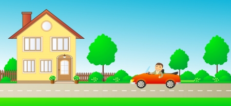 happy cartoon man with thumb up in car cabriolet on road and private house