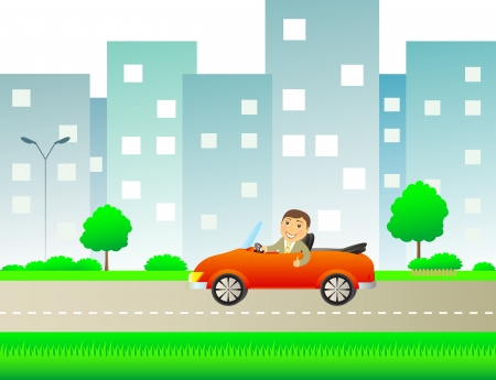 happy cartoon man with car cabriolet in city road with space for text Vector