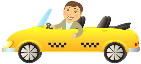 cabriolet de taxi con el hombre aislado sonrisa feliz mostrando el pulgar arriba