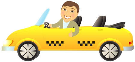 isolated taxi cabriolet with smile happy man showing thumb up
