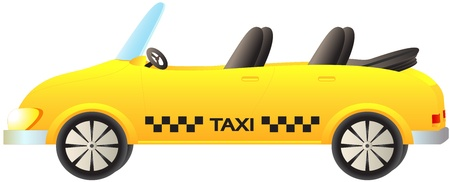 chequerboard: cute cartoon isolated taxi car cabriolet on white background Illustration