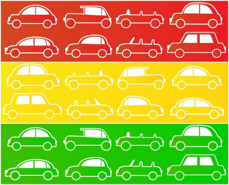 set of cars in colors of traffic lights Vector
