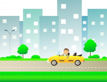 new york street: paysage urbain en taxi et l'homme heureux montrant pouce vers le haut