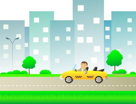 urban landscape with taxi and happy man showing thumb up Vector