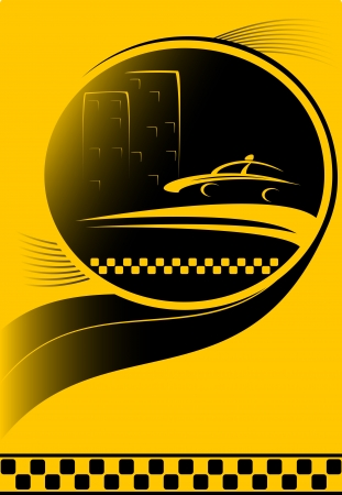 new cab: urban night taxi background with city and car silhouette Illustration
