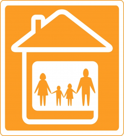 yellow family sign with home and people silhouette Vector