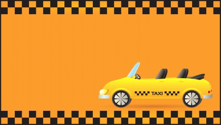 yellow background visiting card with taxi car cabriolet Vector