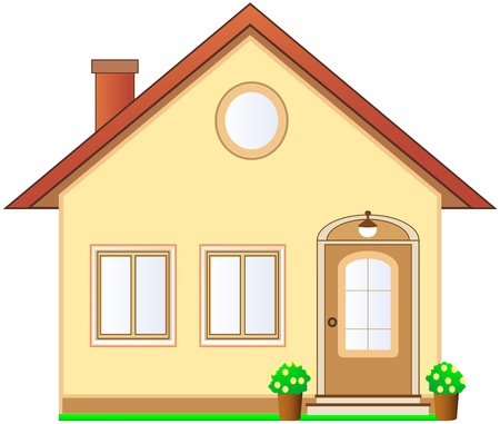 cottage: hermosa casa de campo aislada con �tico en el fondo blanco