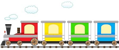 train icone: Train de bande dessin�e isol� mignon avec chariot color� en chemin de fer Illustration