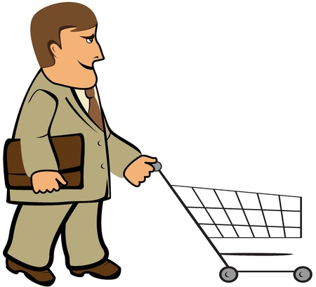 cartoon isolated man with portfolio and shopping cart Stock Vector - 13913426