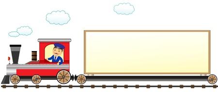 de dibujos animados aislado de tren con el conductor y el espacio para el texto