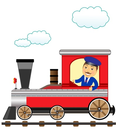 cheerful cartoon train with smile conductor thumb up Vector