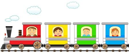 locomotora: de dibujos animados aislado de la familia de tren colorido en ferrocarril