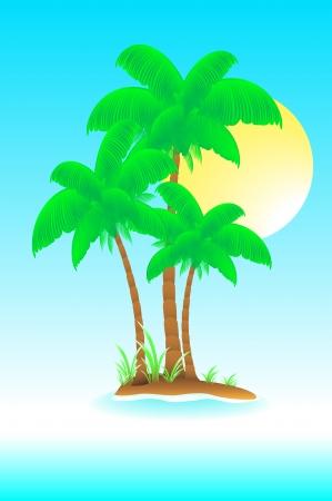 enigmatic: bellissima isola enigmatica con il sole e palme nella nebbia Vettoriali