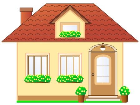 isoliertes Haus mit Dachgaube und Blumentopf