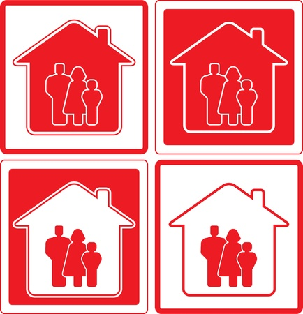 home birth: set red icon with family and home silhouette