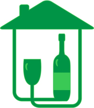 green sign with bottle and glass of wine silhouette Vector
