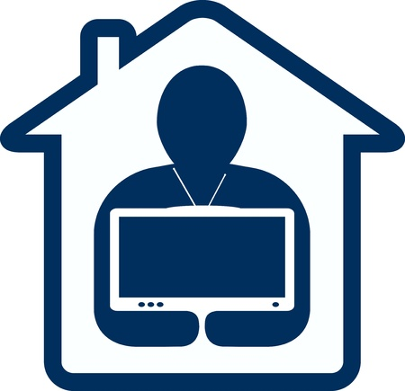 home cinema: symbol home tv with house and man silhouette