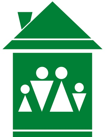 cozy green symbol with family silhouette in big home Vector