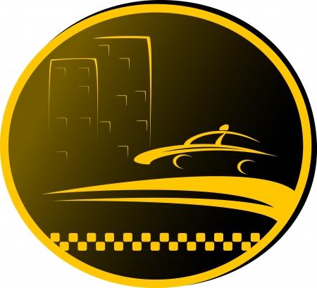 taxi: noche, señal de taxi con la carretera, la cabina y la silueta de la casa
