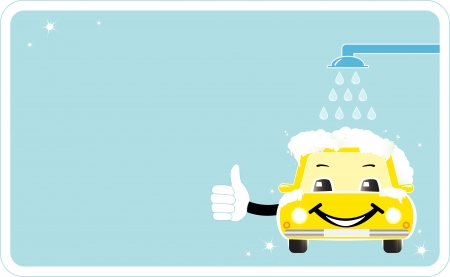 car wash: visiting card with smiling car wash  cleaning company sign with cartoon smile house thumb up and shower