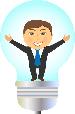 invent: concept isolated icon with bulb and happy smiling enterprising man Illustration