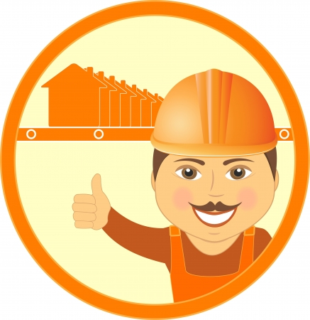 builder symbol: construction symbol with house and cartoon worker builder