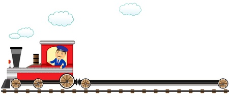 happy cartoon conductor with empty wagon and showing thumb up