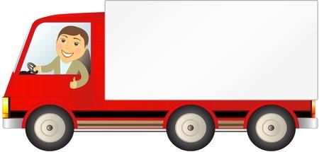 geïsoleerde vrachtwagen met man zien duim omhoog en ruimte voor tekst Vector Illustratie