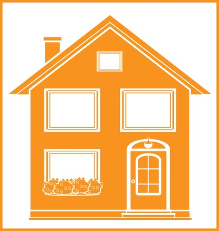mansard: real estate symbol with isolated house silhouette in frame Illustration