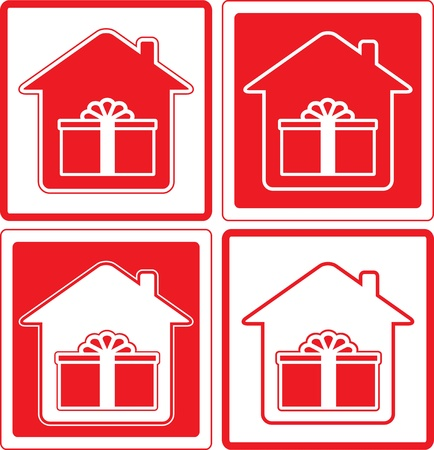 red icon shipping symbol with house and gift silhouette Vector