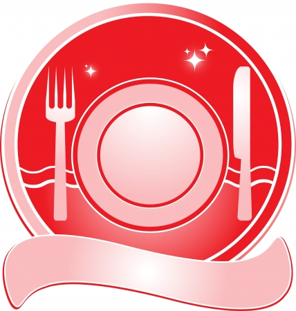 red restaurant sign for menu with utensil and space for text Vector