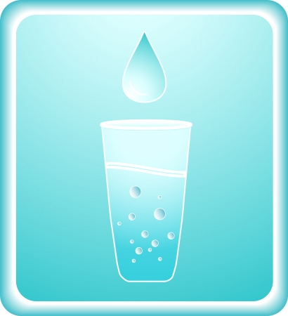 aeration: sign with pure carbonated water in glass