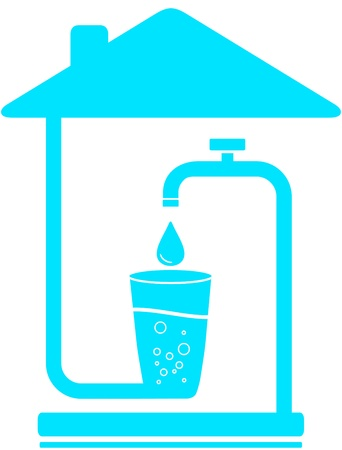 blue sign with glass, drop of water and faucet in house  water symbol Vector