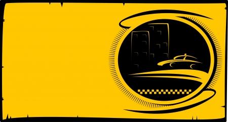 taxi: visita a fondo de la tarjeta con el botón de taxi con la silueta de la cabina y la casa de la ciudad con espacio para texto