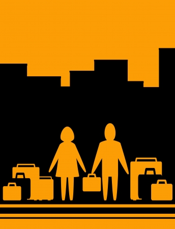 urban background with couple man and woman with bag Vector