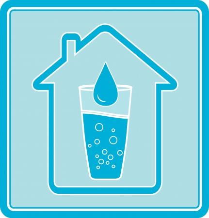 blue icon with water drop in glass and house silhouette Vector