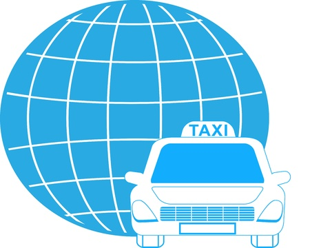 blue cargo symbol with planet and taxi car Stock Vector - 14172982