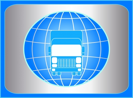 freight transportation: cargo symbol with truck and planet on metal button