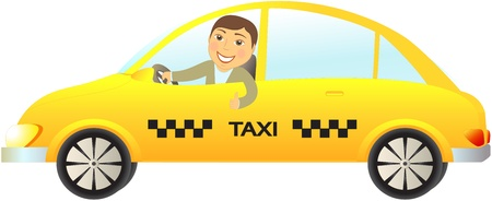 cartoon isolated taxi car with driver thumb up Vector