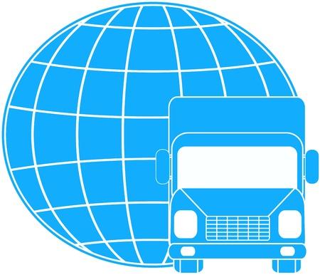 logo voyage: signe de livraison bleu avec camion sur la silhouette planète