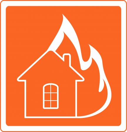 house fire: red warning sign with house fire
