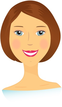 new generation: beautiful isolated bust smiling happy woman Illustration