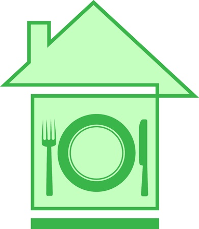 icon with house and utensil silhouette with space for text Stock Vector - 14350762