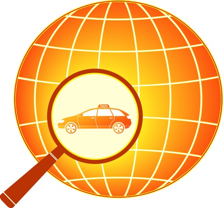 red sign with modern taxi car in magnifier with planet Stock Vector - 14510316