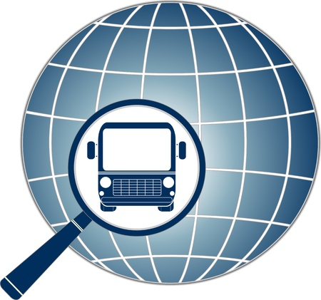 symbol travel with modern bus in magnifier and planet silhouette Stock Vector - 14510313