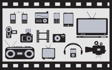 set of many isolated satellite, audio, video technical objects Vector