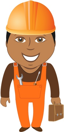 masters: happy afro american worker - home master with tools