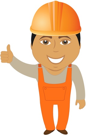 foreman: happy cartoon arabian builder showing thumb up Illustration